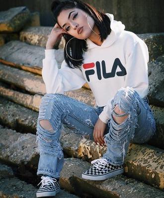 ripped jeans hoodie fila cropped hoodie