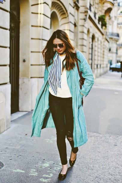 color me nana blogger coat bag mint black ripped jeans