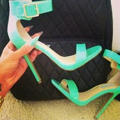 shoes,strappy heels,open toes,blue green,golden buckle,thick ankle strap,adorable.