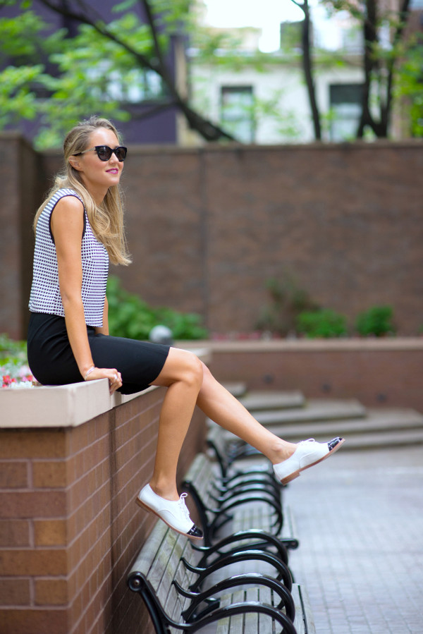 the classy cubicle top skirt shoes sunglasses