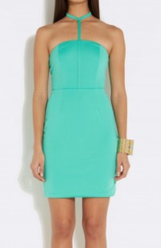 dress bodycon aqua turquoise halter neck dress
