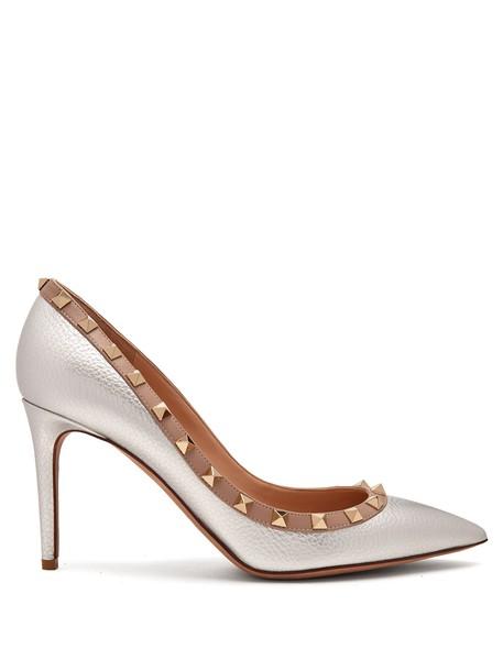 pumps leather silver shoes