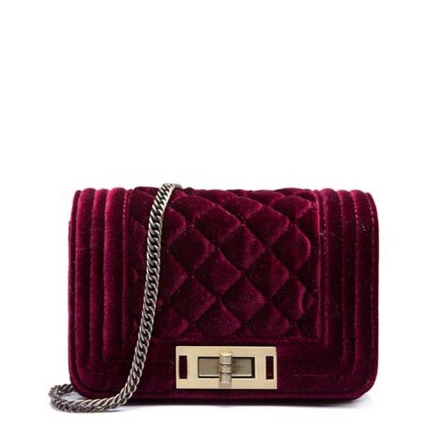 Women Newly Vintage Wine Red Velvet Small Shoulder Bag