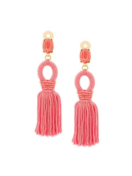 oscar de la renta tassel women earrings silk purple pink jewels