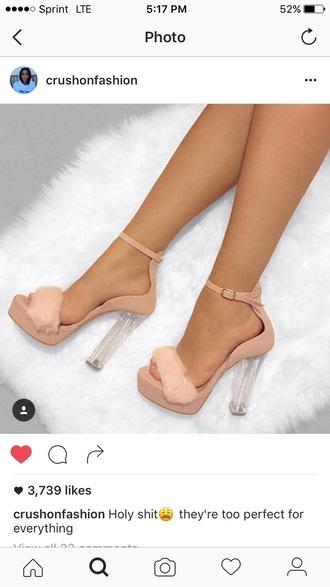shoes heels nude fur pink