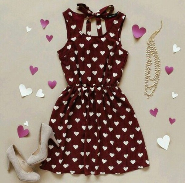dress white hearts red dress short dress