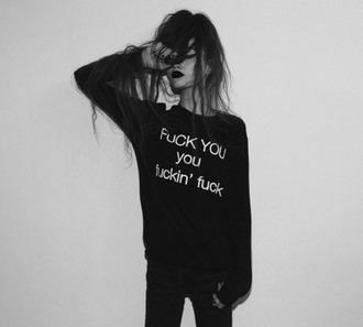 sweater white words black black sweater black clothes goth gothic goth fashion grunge tumblr tumblr girl tumblr fashion found on tumblr