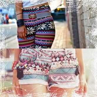 aztec short leggings jeans pattern byxor skjorta jewels