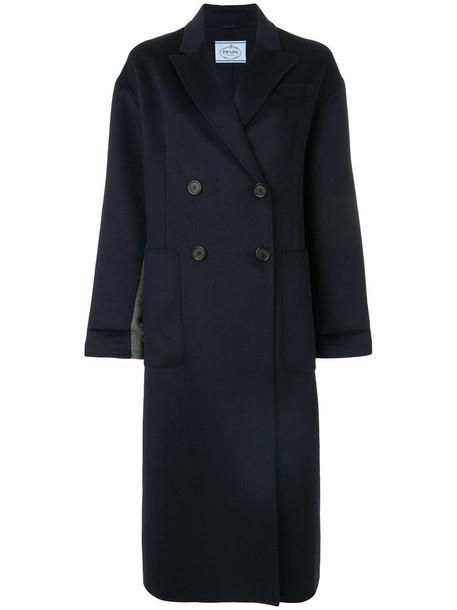 Prada coat double breasted women blue wool