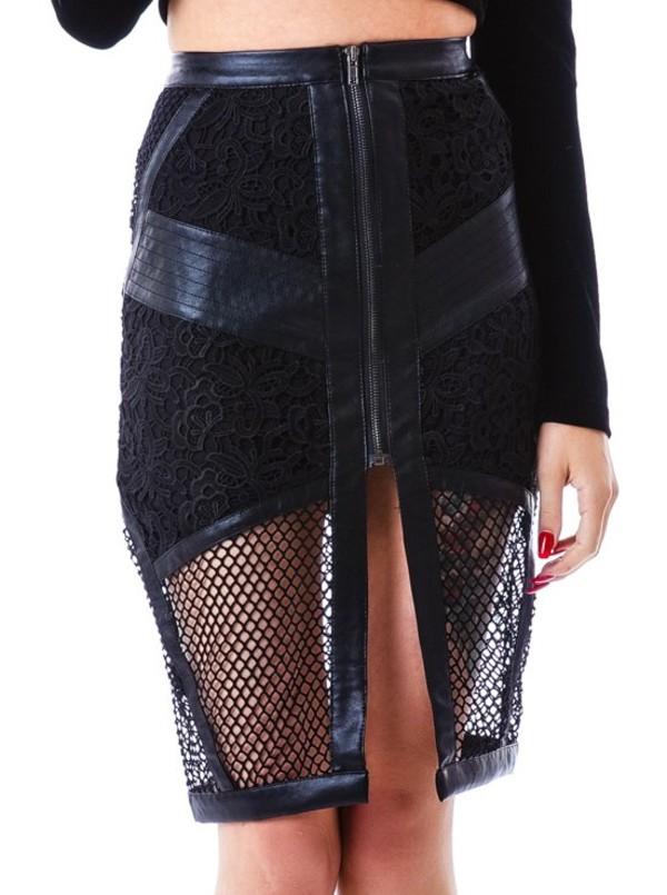 skirt mesh skirt leather skirt black skirt