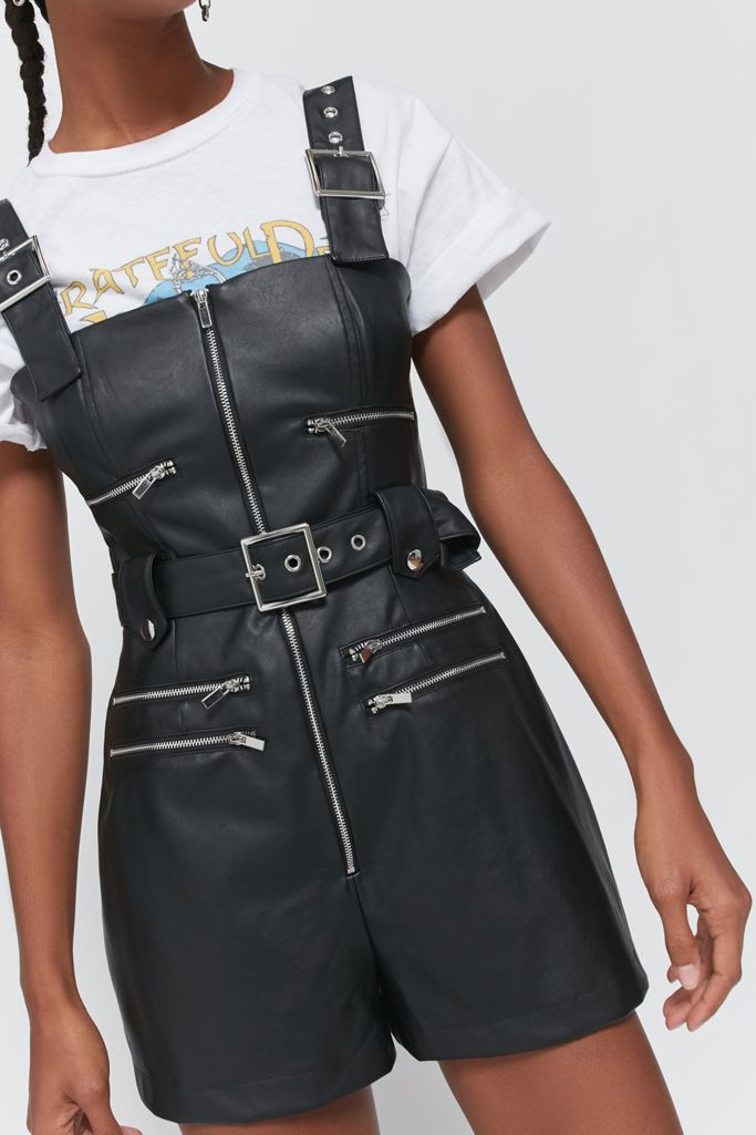 WeWoreWhat Moto Faux Leather Romper