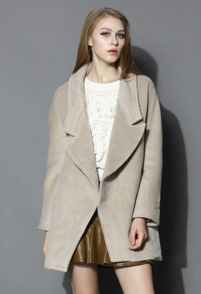 Oversized Wool-blend Coat in Beige - Retro, Indie and Unique Fashion