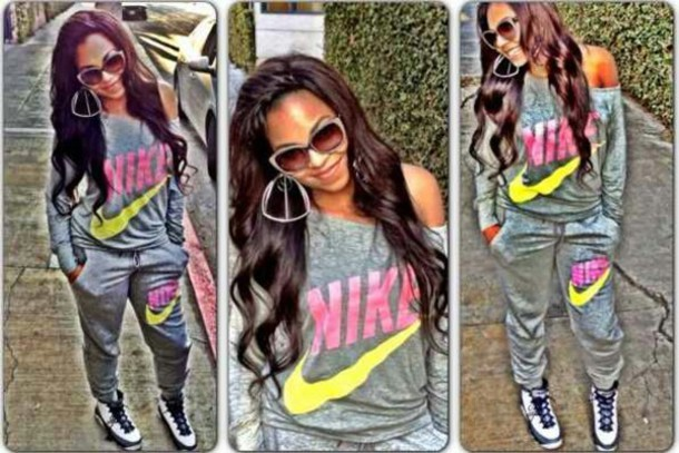 pants nike joggers tomboy jumpsuit yellow grey nike sweater grey sweater  pink nike sweater t-