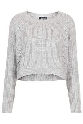 Knitted Rib Curve Hem Crop Jumper - Knitwear  - Clothing  - Topshop