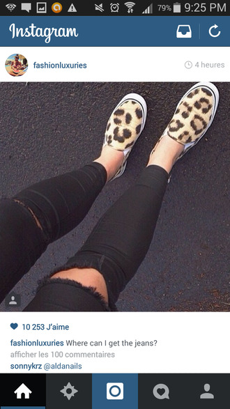 shoes animal leopard print black denim ripped jeans ripped skinny jeans jeans