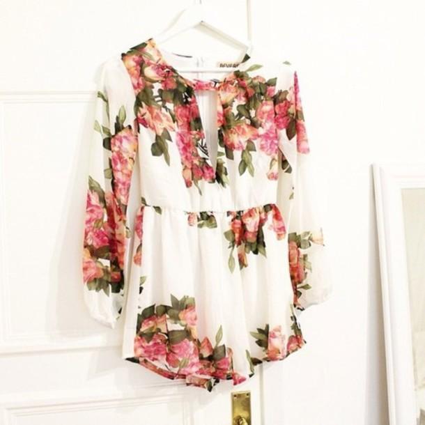 dress flowers beautiful spring cute fashion pink white green