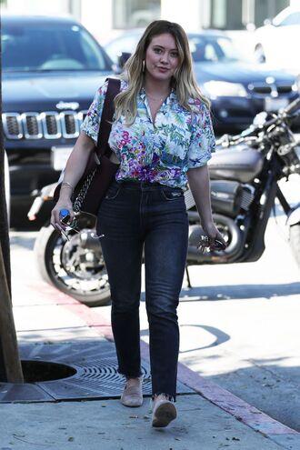 jeans blouse shirt hilary duff streetstyle