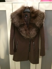 jacket,brown coat fur collar