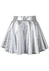 skirt,holographic,silver,mini,skater skirt