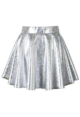 skirt holographic silver mini skater skirt