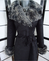 clothes,coat,faux fur,faux fur jacket,waist belt,black coat,jane norman,jacket