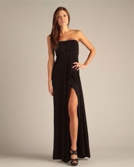 dress slit maxi dress strapless
