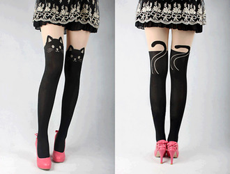 cats cat tights animal tights ears tail whiskers nose eyes black and white shoes leggings