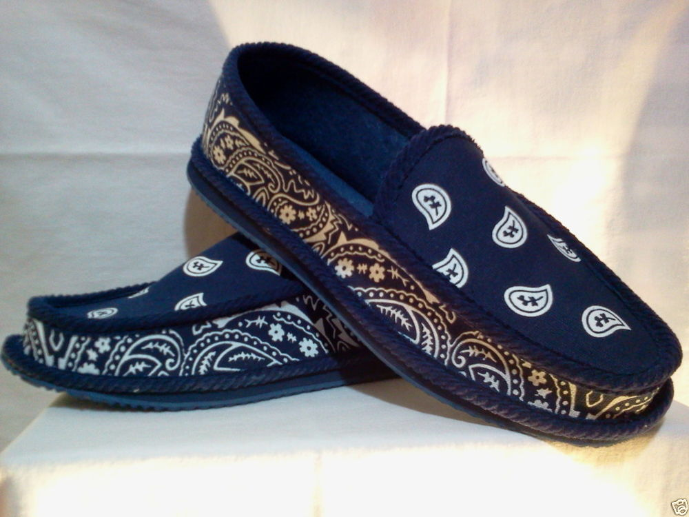 Navy Blue Bandana House Shoes Slippers Trooper Brand New Size 9 10 11 12 13  | EBay