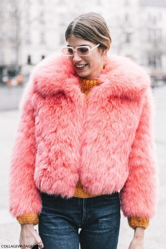 jacket orange sweater tumblr fashion week 2017 streetstyle pink jacket fur jacket faux fur jacket sweater chunky knit turtleneck turtleneck sweater orange jeans denim blue jeans glasses