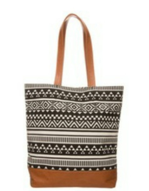 bag atztec black white handbag brown shopping sportswear beautiful nice pretty summer