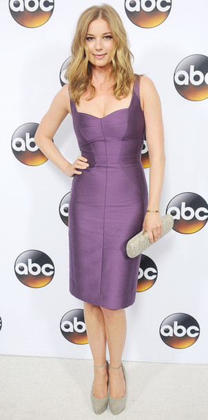 emily vancamp clutch pumps purple dress metallic dress