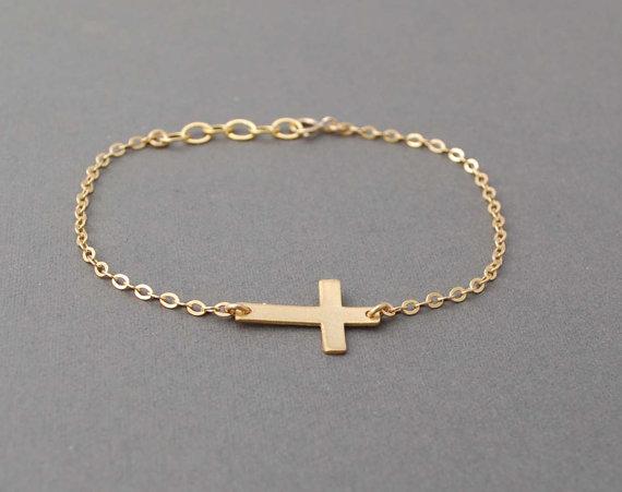 Gold sideways cross bracelet horizontal by jennyandjude on etsy