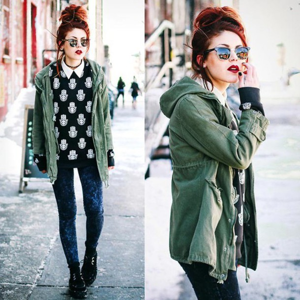 shirt printed sweater print sweater style indie grunge jacket sunglasses