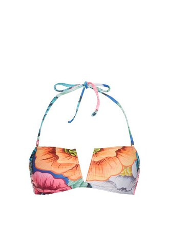 bikini bikini top bandeau bikini floral print orange swimwear