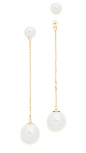 long pearl earrings gold white jewels