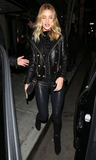 jacket pants leggings leather biker jacket rosie huntington-whiteley all black everything boots