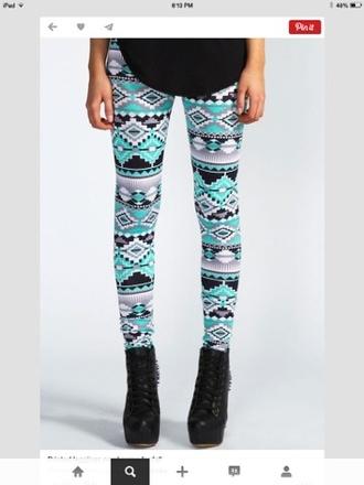 pants aztec  printed leggings leggings pattern detailed turquoise