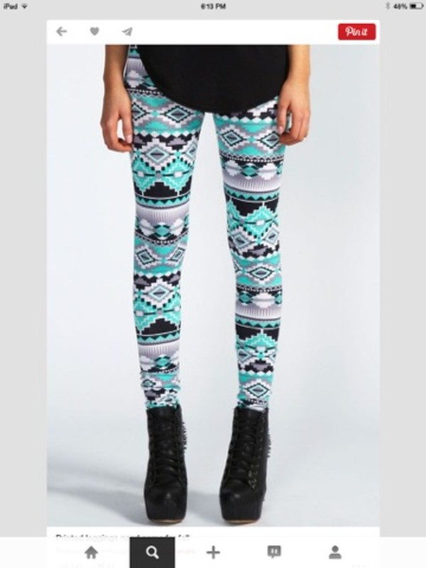 pants aztec  printed leggings leggings pattern detailed turquoise