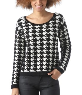 Dogtooth sweater - Black print - Women - Knitwear - Promod
