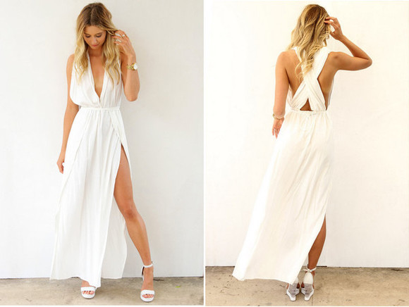 dress slitted maxi skirt slit skirt maxi dress white dress prom dress
