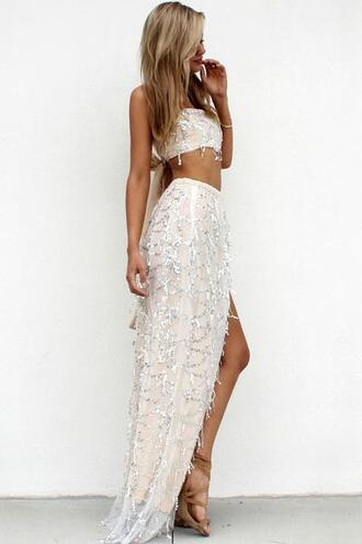 dress white white dress white top beaded beaded dress skirt side split girl girly girly wishlist grunge women fashion fashion week 2016 fashionista fashion week vogue wedding dress prom dress prom swimwear summer summer dress summer outfits