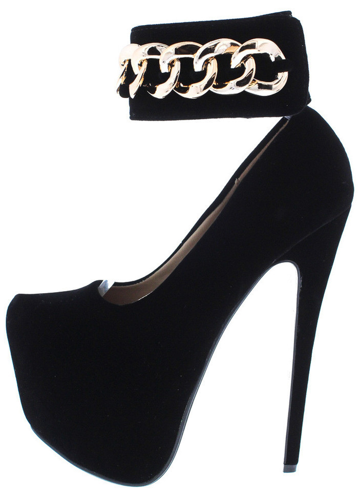Lethalbeauty ? black faux suede chain high heel
