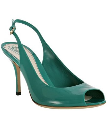 Gucci parrot green patent 'sofia' peep toe slingbacks at bluefly