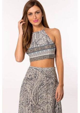 top boho two-piece crop tops