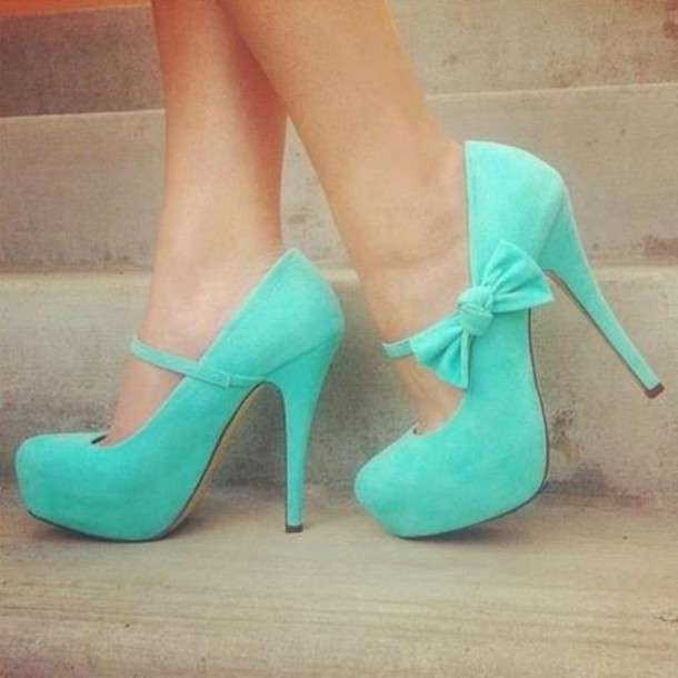 Shoes: blue shoes, bow-tie, blue, high heels, tiffany blue, heels ...