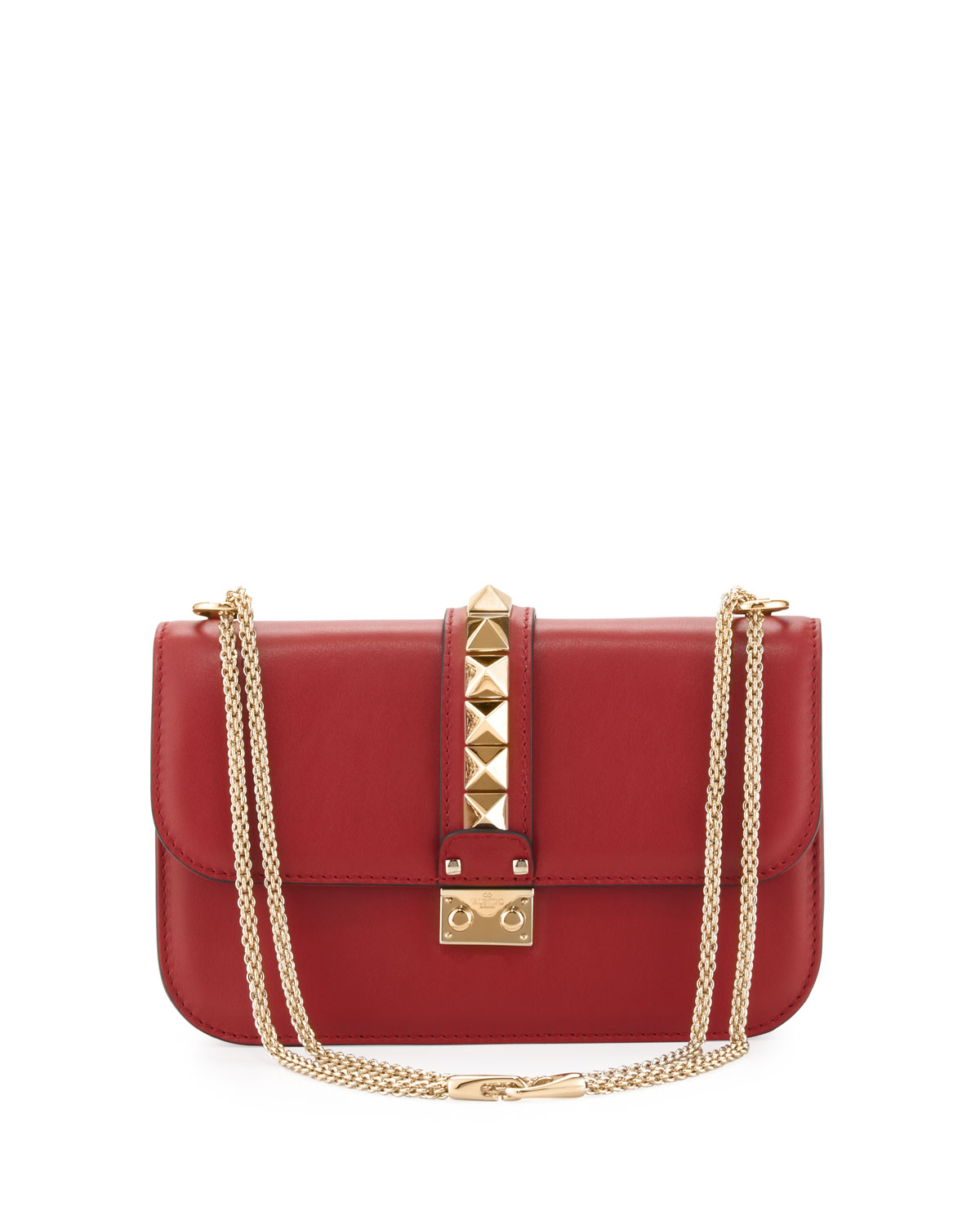 Lock Rockstud-Trim Flap Bag, Red