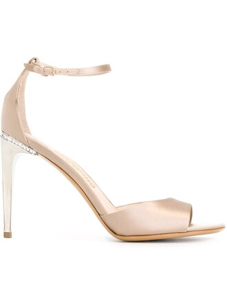 ankle strap sandals satin nude shoes