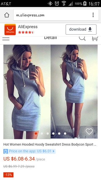 dress hoody dress bodycon grey