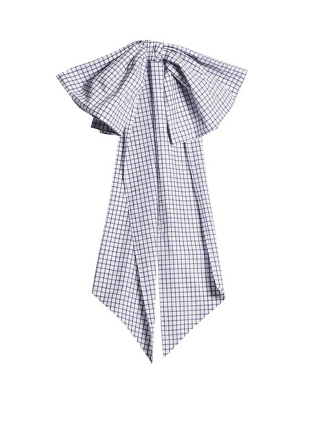 DOVIMA PARIS bow embellished belt cotton gingham navy white