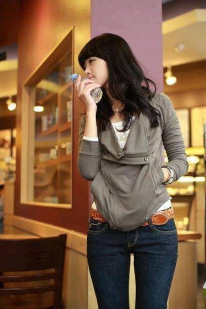 Jacket Kawaii Dress Ulzzang Boyish Korean Fashion Korean Style Jeans Gray Jacket Wheretoget